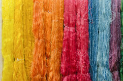 Colorful silk yarns Royalty Free Stock Photos