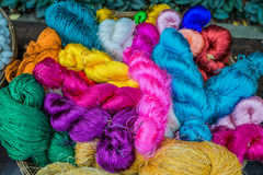 Colorful silk yarns Jim Thompson House museum bangkok thailand Stock Photography