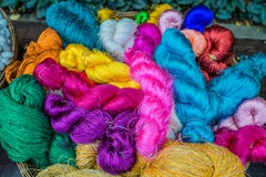 Colorful silk yarns Jim Thompson House museum bangkok Thailand Royalty Free Stock Images