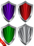 Colorful silver shield set Royalty Free Stock Photography