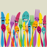 Colorful silverware set Stock Images