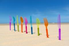 Silverware at the beach Stock Photo