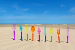 Silverware at the beach Royalty Free Stock Photo