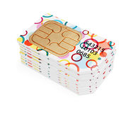 Colorful SIM cards row stack Stock Photos