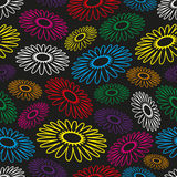Colorful simple abstract flower seamless black pattern Royalty Free Stock Image