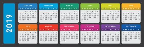 Calendar 2019. Colorful simple calendar 2019 on dark background vector illustration