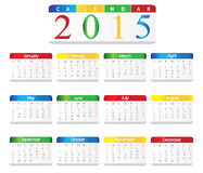 Colorful simple Calendar 2015 Royalty Free Stock Photography