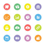 Colorful flat finance and technology icon set on circle. For web design, user interface (ui), infographic and mobile application Stock Image