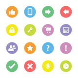 Colorful flat computer and miscellaneous icon set on circle Royalty Free Stock Images