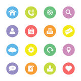Colorful flat web and technology icon set on circle. For web design, user interface (ui), infographic and mobile application royalty free stock photo