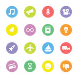 Colorful flat transport and miscellaneous icon set on circle Stock Image