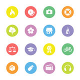Colorful flat safety and miscellaneous icon set on circle. For web design, user interface (UI), infographic and mobile application Stock Image