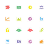 Colorful simple flat finance and technology icon set Royalty Free Stock Image