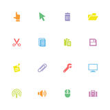 Colorful simple flat computer and technology icon set Royalty Free Stock Images