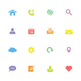 Colorful simple flat web and technology icon set Stock Photos