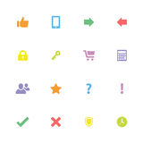 Colorful simple flat miscellaneous icon set Royalty Free Stock Photo