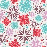 Colorful simple handmade snowflakes seamless pattern Stock Photos
