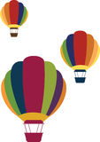 Colorful and Simple Hot Air Balloon Icons Stock Images
