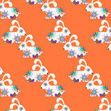 Colorful simple rabbits  seamless retro pattern , vector. Colorful simple rabbits  seamless retro pattern and seamless pattern in swatch menu, vector  image Stock Photo