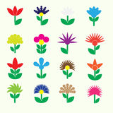Colorful simple retro small flowers set of icons eps10 Royalty Free Stock Photography