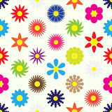 Colorful simple retro small flowers set seamless pattern eps10 Stock Photo