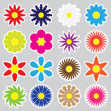 Colorful simple retro small flowers set of stickers eps10 Royalty Free Stock Images