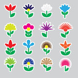 Colorful simple retro small flowers set of stickers icons eps10 Royalty Free Stock Image