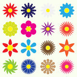 Colorful simple retro small flowers set of symbol eps10 Royalty Free Stock Photos