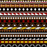 Colorful simple shapes ethnic african striped seamless pattern, vector Royalty Free Stock Photos