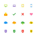 Colorful simple web icon set Stock Image