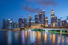 Colorful Singapore business district skyline. Royalty Free Stock Image