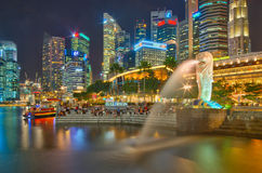 Colorful Singapore, the Lion City at night Stock Image