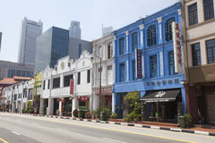 Colorful Singapore traditional houses in Chinatown Stock Photography