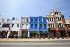 Colorful Singapore traditional houses in Chinatown Stock Photo