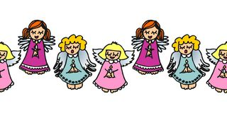 Colorful singing angels with candles on white Royalty Free Stock Image