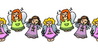 Colorful singing angels on white. Cute handdrawn illustration with  singing angels with candles colorful seamless horizontal border on white background Stock Photo