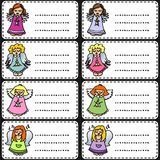 Colorful singing angels on white gift labels Royalty Free Stock Image