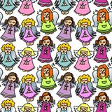Colorful singing angels on white seamless pattern Stock Image