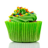 Colorful single cupcake in green Stock Photos