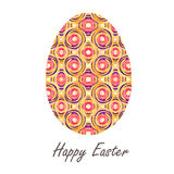 Colorful single easter egg with beautiful  color abstract pattern. Isolated on white background - graphic illustration. Royalty Free Stock Images