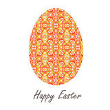 Colorful single easter egg with beautiful  color abstract pattern. Isolated on white background - graphic illustration. Stock Image