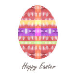 Colorful single easter egg with beautiful  color abstract pattern. Isolated on white background - graphic illustration. Royalty Free Stock Photo