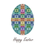 Colorful single easter egg with beautiful  color abstract pattern. Isolated on white background - graphic illustration. Stock Photography