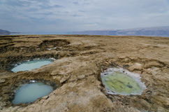 Colorful Sink Holes. In the Dead Sea, Israel Stock Images