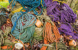 Colorful sink, hydropro and float ropes used for lobster traps sit in a big pile Royalty Free Stock Photo