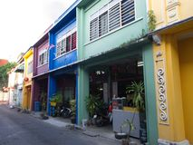 A Colorful Sino-Portugese House Style in Phuket Old Town. Taken stock image
