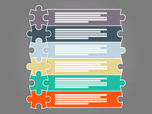 Colorful six piece puzzle presentation infographic template stock illustration