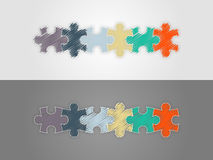 Colorful six piece puzzle presentation infographic template Royalty Free Stock Photos