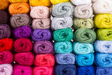 Colorful skeins of Yarn. In block Stock Images