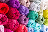 Colorful skeins of Yarn. In block Stock Image